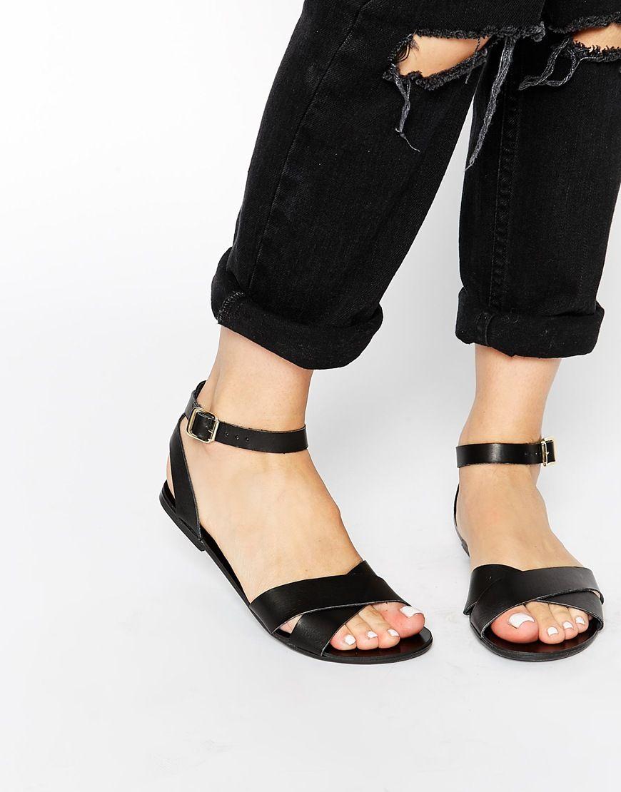 Black sandals flat - Image 1 Of Pieces Black Leather Sara Flat Sandals