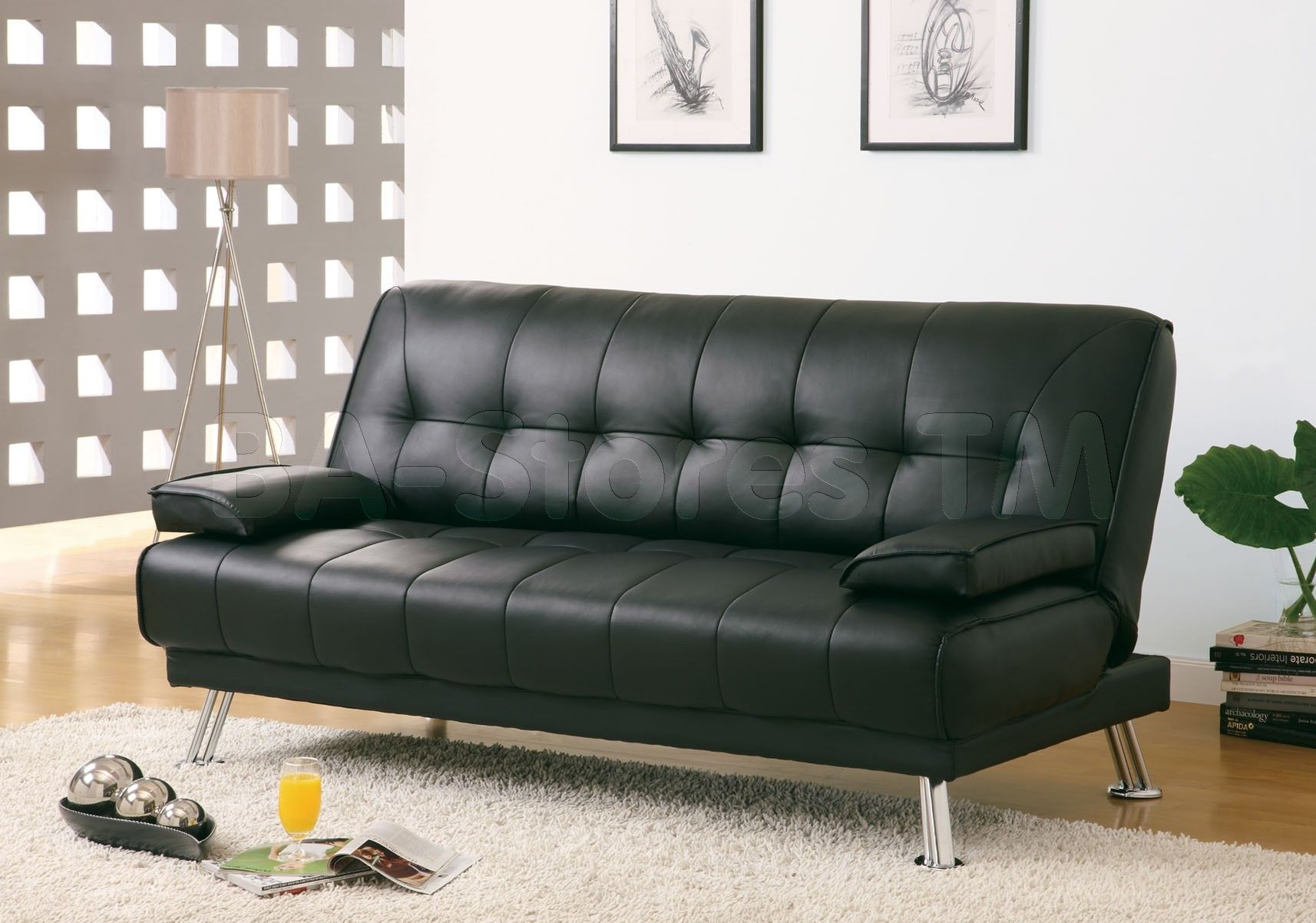 Maximize The Versatility Of Your Living E With Black Leather Look Click Clack Futon