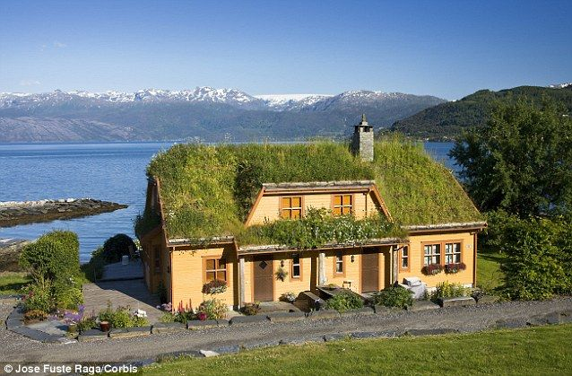 Beautiful off grid homes we d like to live in green - Yellow house with green roof ...