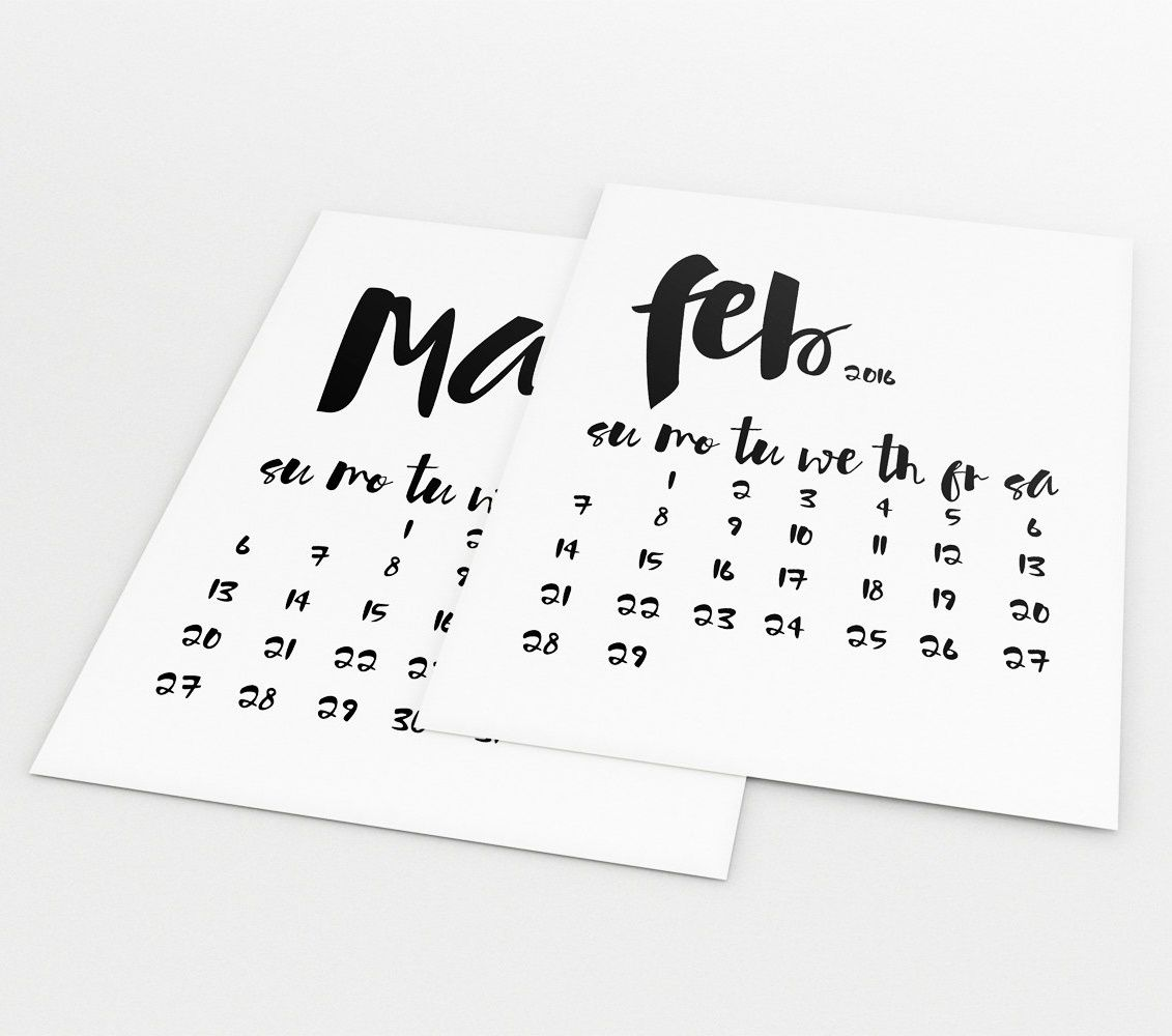 Office Calendar 2016 : Printable black and white typography monthly calendar
