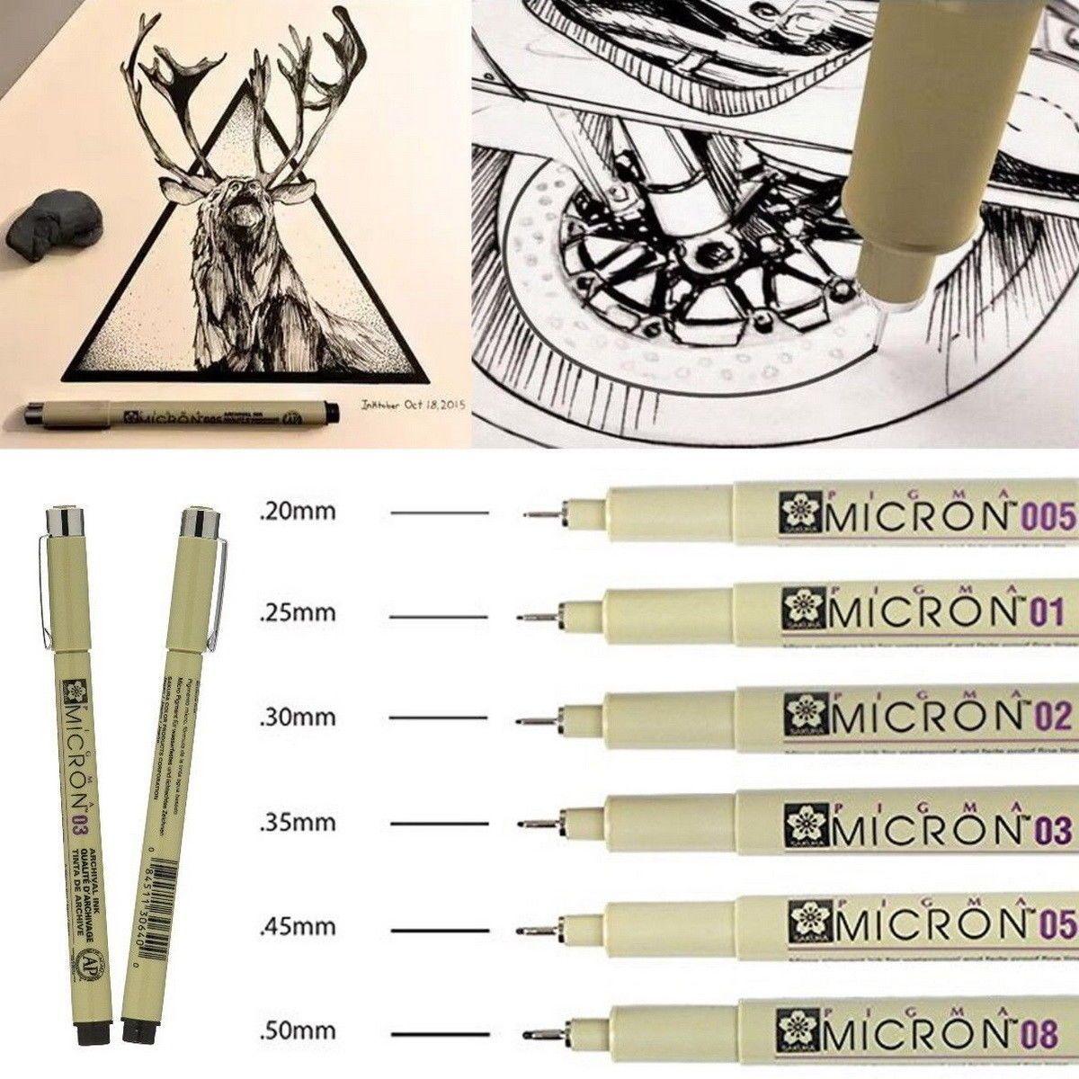 8pcs Micron Fine Liner Drawing Ink Pens /& Brush Art Drawing Write Sketching Set