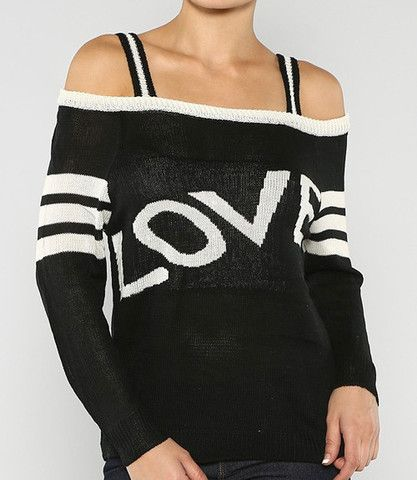Love Conquers All Open Shoulder Sweater
