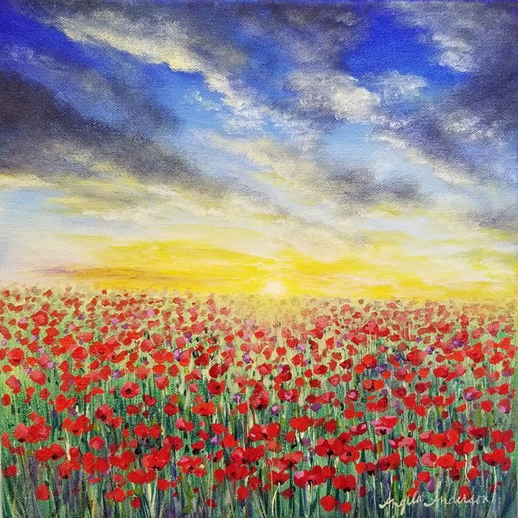 Red Poppies Field Van-Go Paint-By-Number Kit