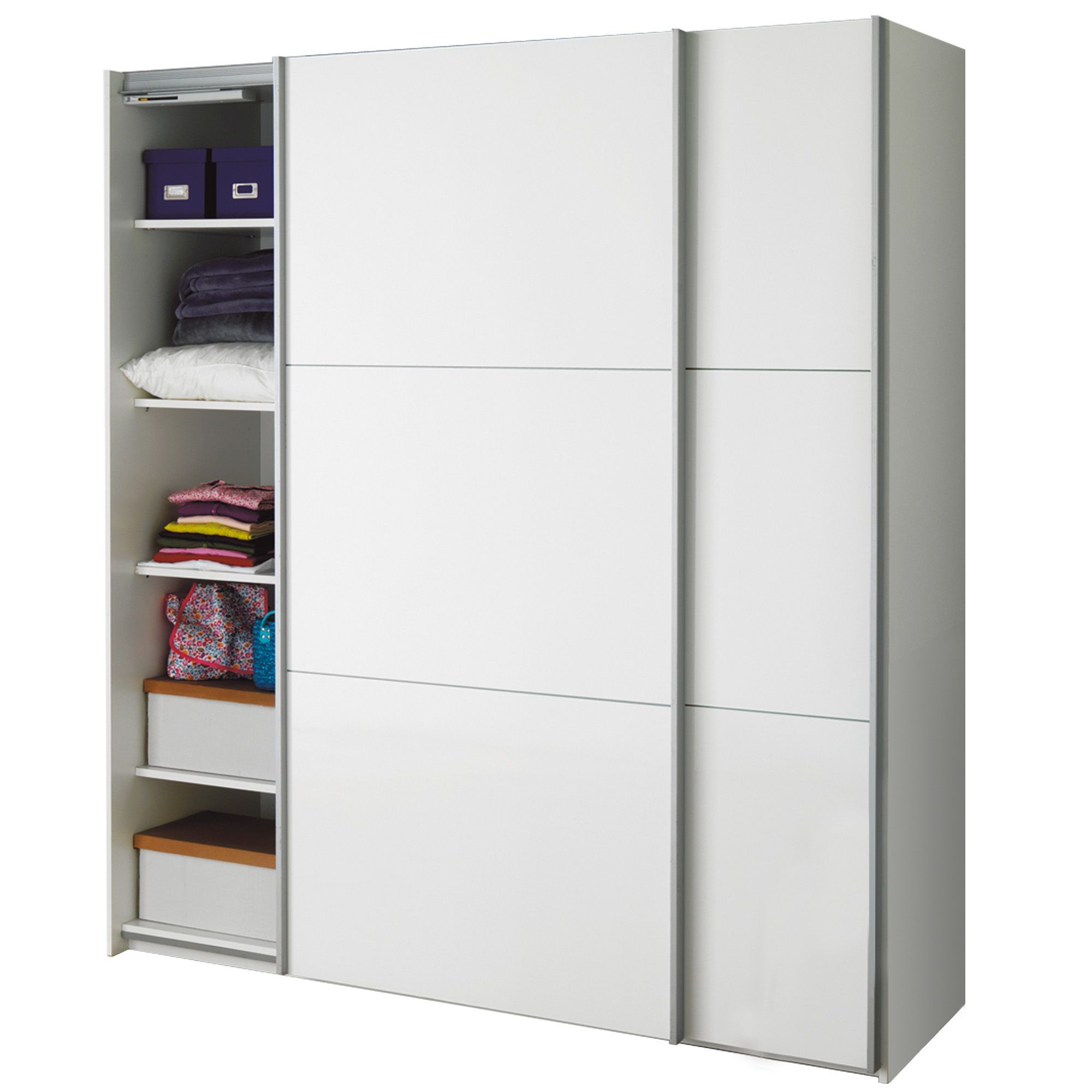Armoire 2 portes coulissantes blanc laqu brillant for Meuble suspendu porte coulissante