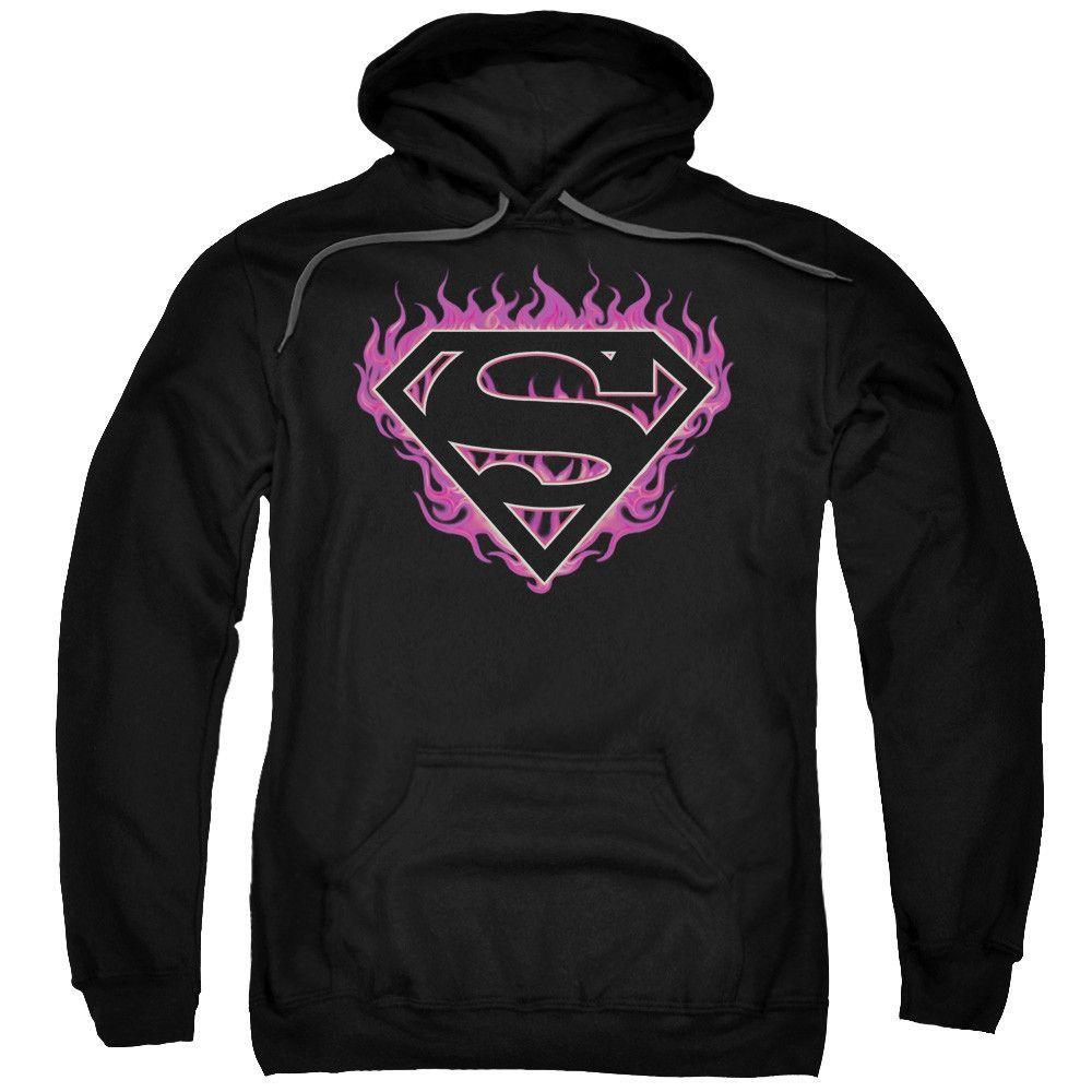 SUPERMAN/FUCHSIA FLAMES-ADULT PULL-OVER HOODIE-BLACK