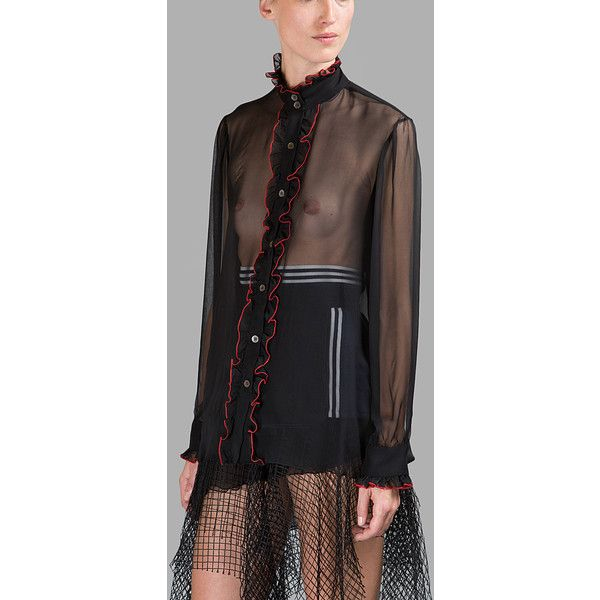 Rodarte Shirts featuring polyvore, women's fashion, clothing, tops, blouses, black, see through blouse, sheer tops, sheer silk blouse, silk blouse and transparent blouse