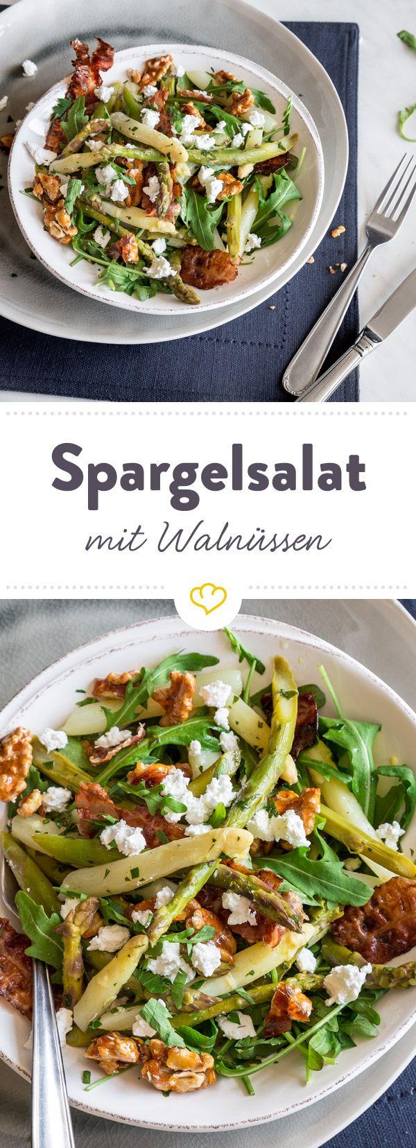 Grün-weißer Spargelsalat mit karamellisierten Walnüssen #grillingrecipes