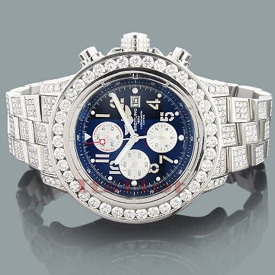 4527df77e13 This Custom Breitling Super Avenger Mens Diamond Watch features 23.78 carats  of genuine diamonds on the stainless steel case and a silver stainless  steel ...