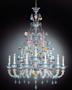 Yellow pink blue rezzonico style venetian chandelier we are established uk importers and international suppliers of many beautiful large venetian and murano flower chandeliers to suit any room aloadofball Gallery