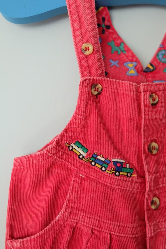 6edb2546a3eb Vintage baby clothes red dungarees toddler overalls cord embroidered ...
