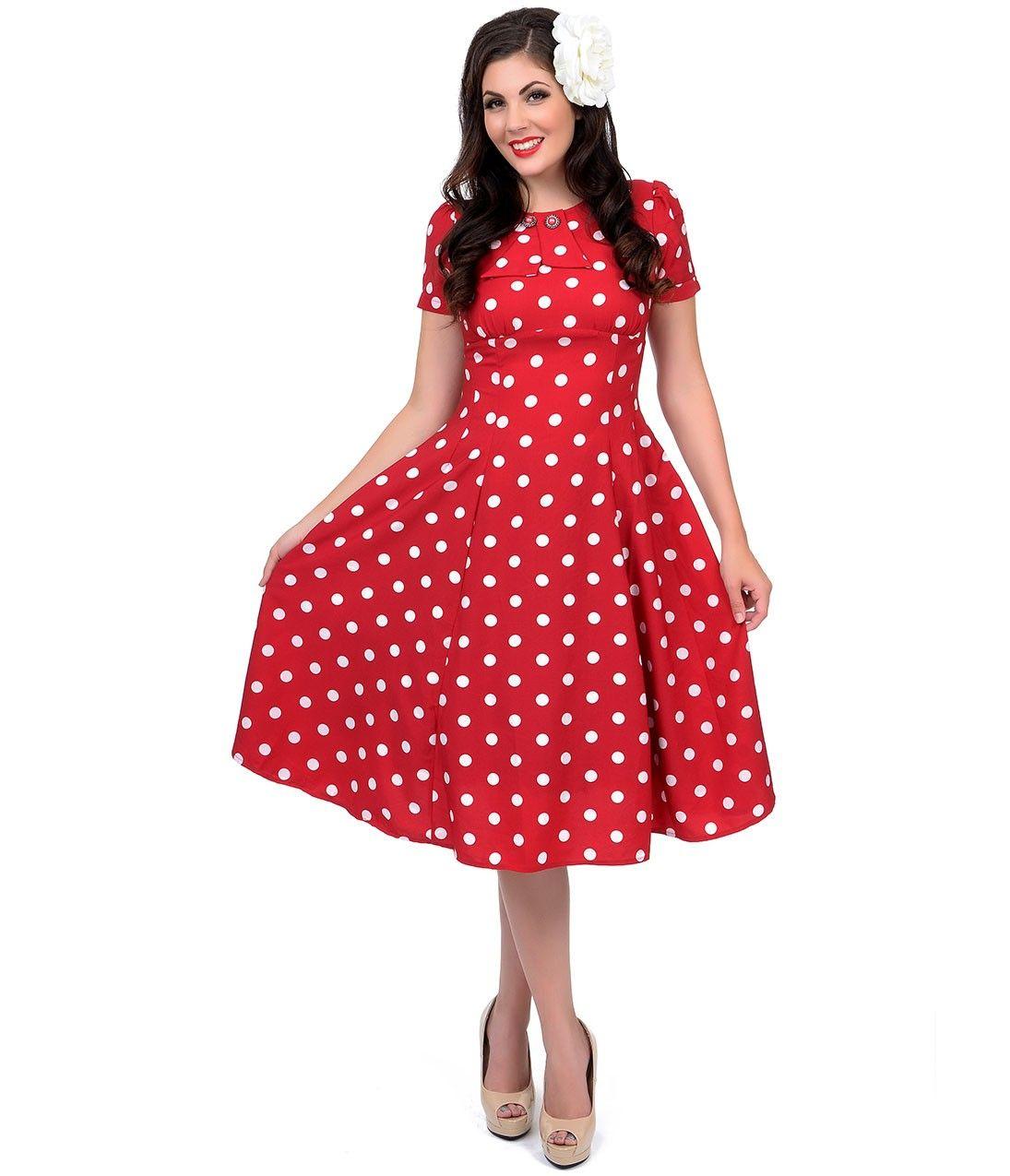 2c7cc130bd3d Ladies Marilyn 1950 s Rockabilly Polka Dot Retro Swing   Dress In Red only