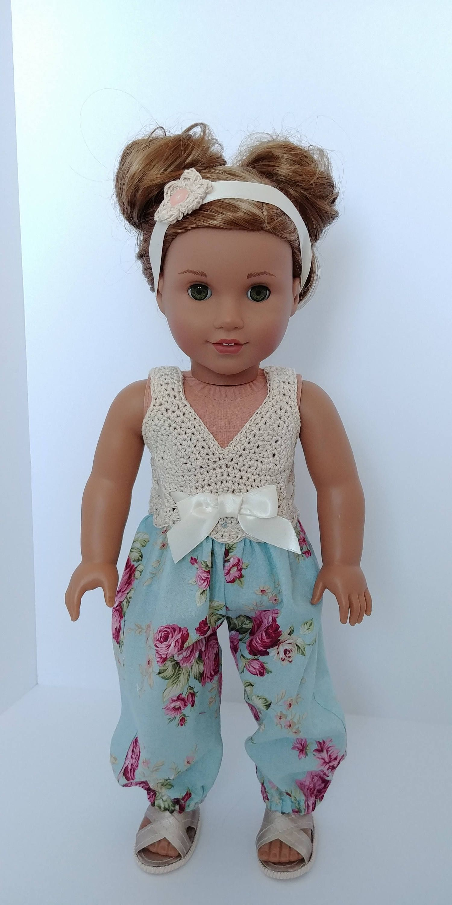 Doll Romper Jumpsuits Hairband Set For 18 inch AG American Doll Dolls Clothing