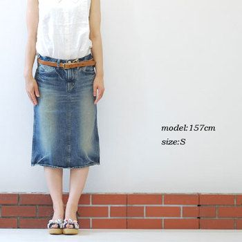 Rakuten: ■1,600 number of the sale breakthrough D.M.G Domingo DMG 4P knee-length tight denim skirt 17-159A (27-9) Lady's clothes VERY for mail order- Shopping Japanese products from Japan