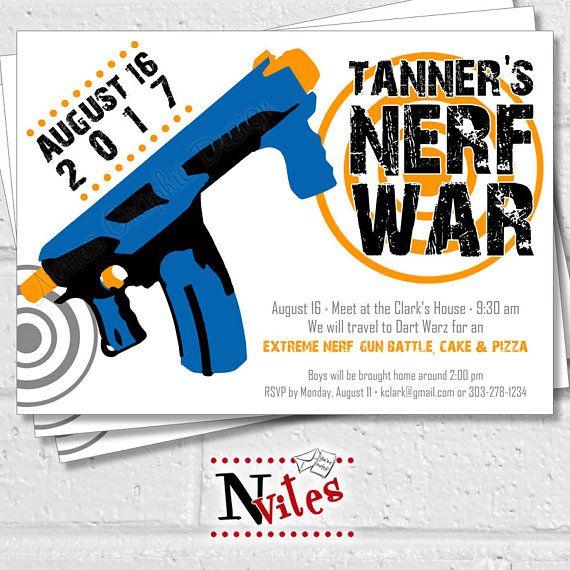 Nerf Party Invitation, Nerf Gun Party, Dart War Invitation, Kids Nerf  Birthday Party