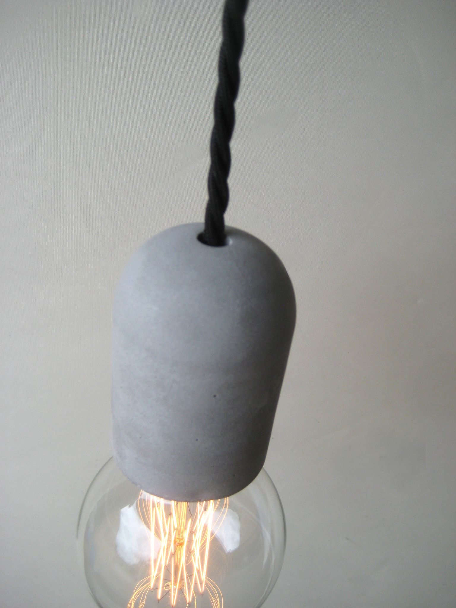 plug in concrete pendant light make to order with braided linen