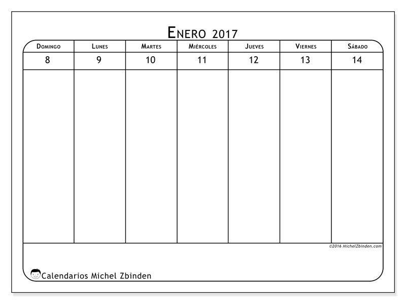 Gratis! Calendarios para enero 2017 para imprimir   Enero ...