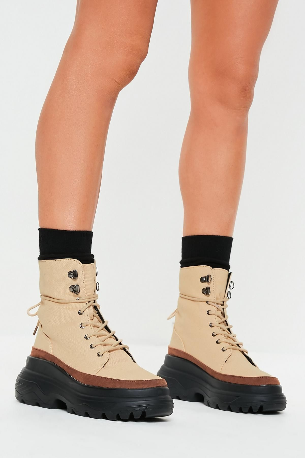 Tan Chunky Sole Canvas Hiking Boots