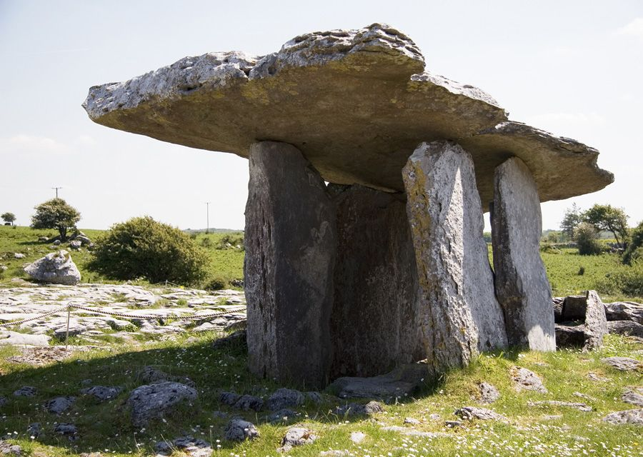 Ireland's Top Ten Ancient Sites and Ruins. Poulnabrone Dolmen is 5800 years old in the Burren co. Clare Ireland.