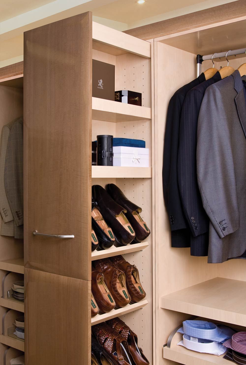 Compact Shoe Storage Cabinet Design Ideas With Steel Rack Aside
