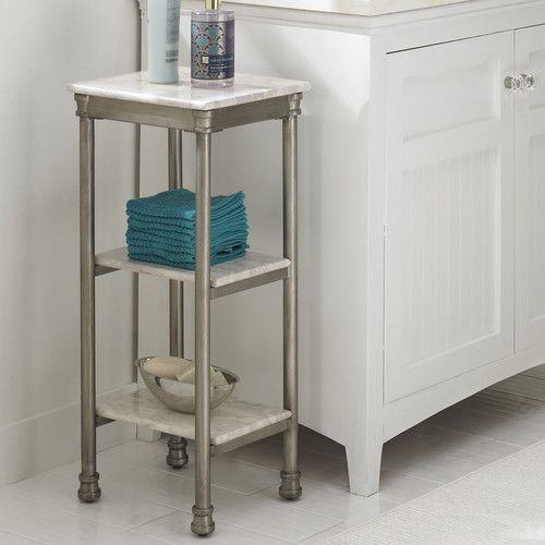 The Orleans Three Tier Tower Is Constructed Of Powder Coated Metal With Marble Laminate Shelves This Multifaceted Storage Shelf Will Meet All Your