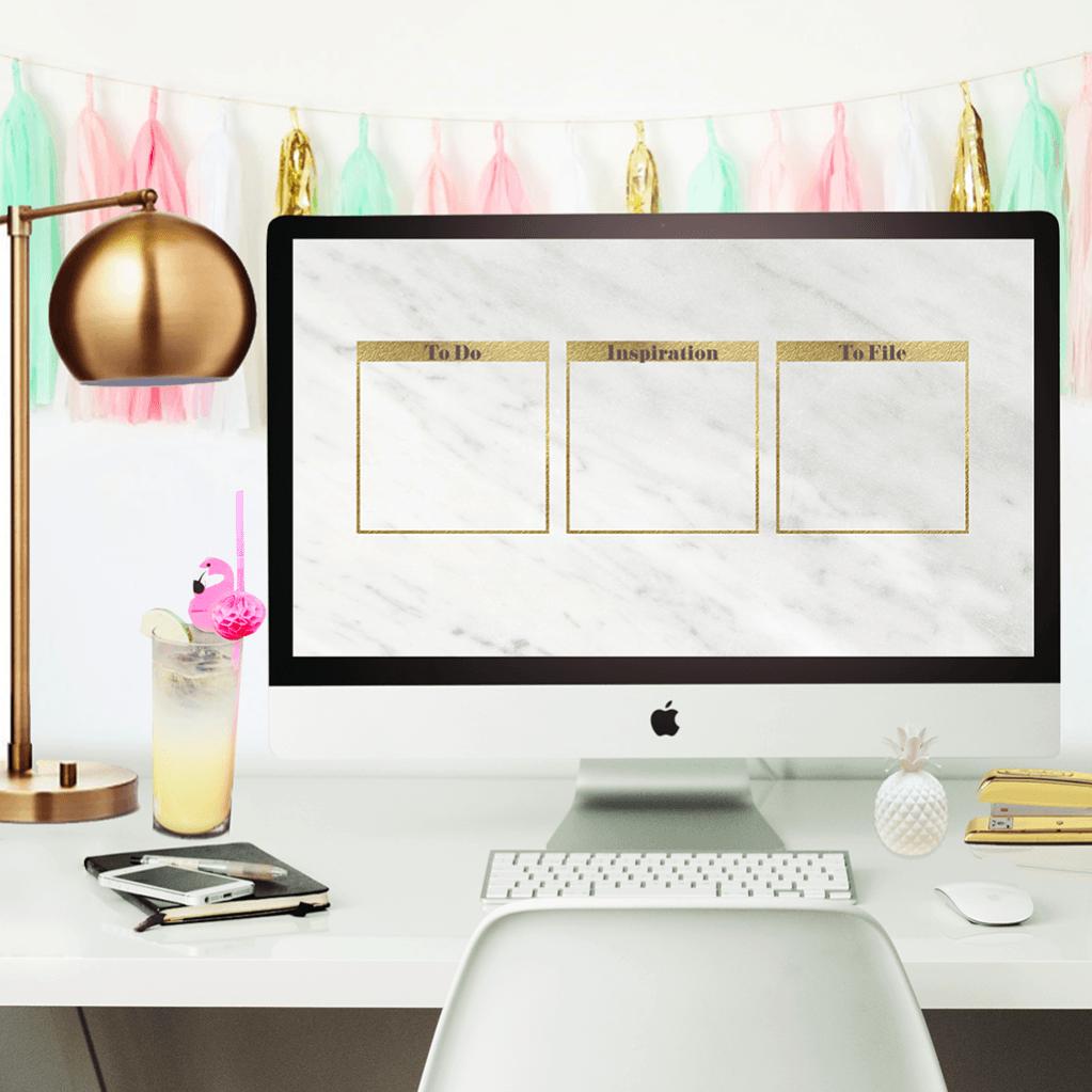 Oh So Lovely Blog Desktop Wallpaper Organizer Desktop Organization Marble Desktop Wallpaper