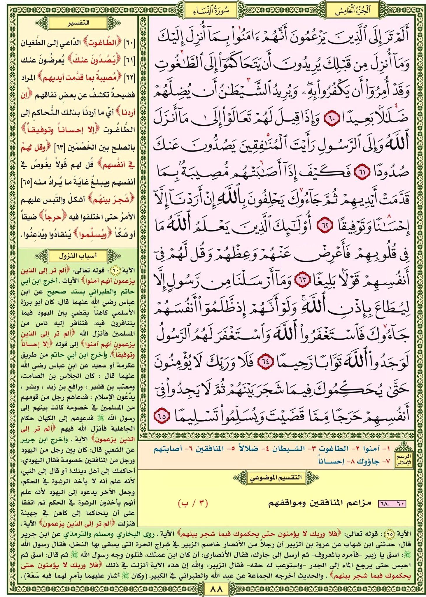 سورة النساء صفحة رقم ٨٨ مصحف التقسيم الموضوعي للحافظ المتقن Quran Verses Verses Bullet Journal
