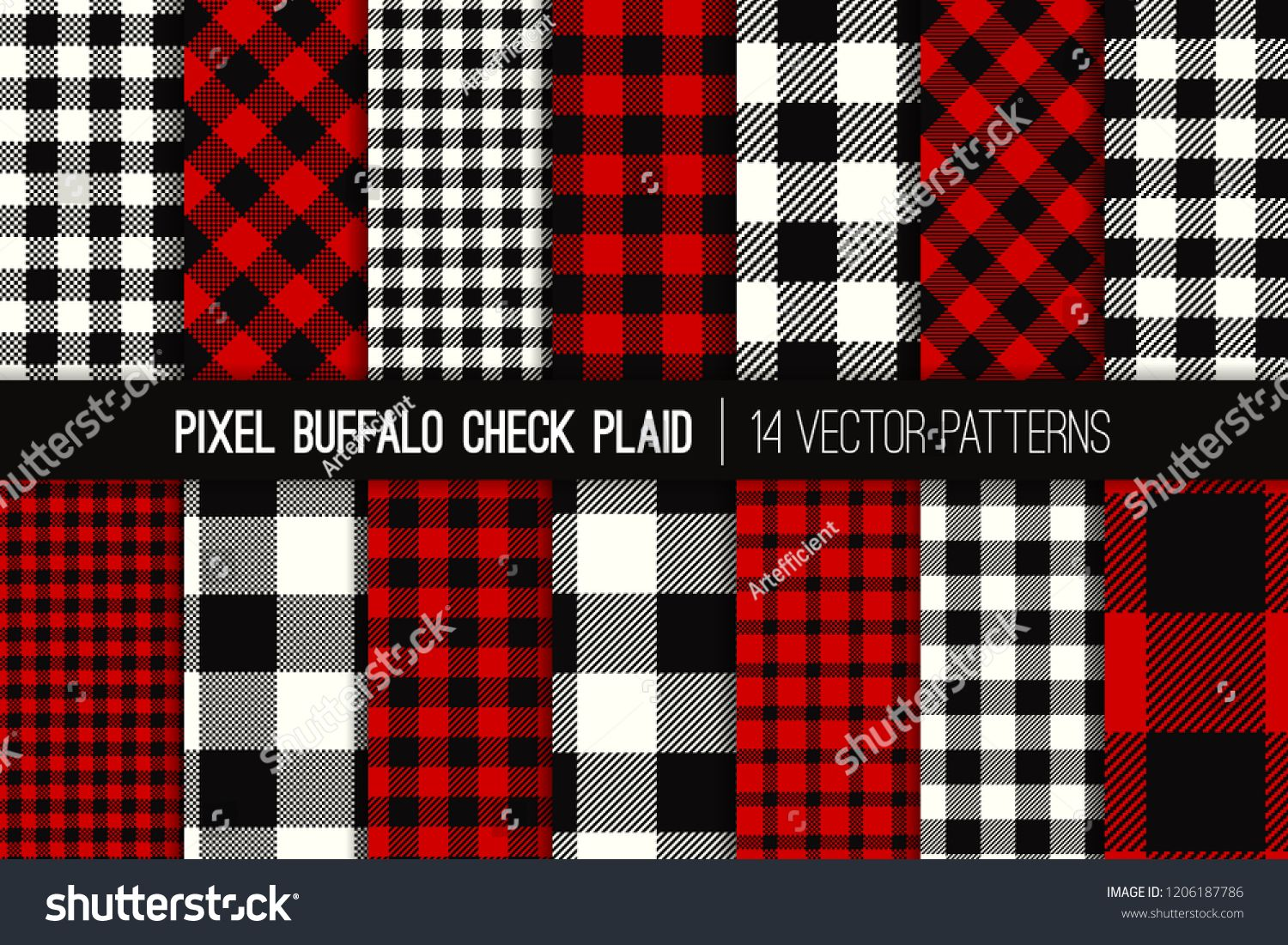 Lumberjack Buffalo Check Plaid Vector Patterns Red Black And White Christmas Backgrounds Hipster Flannel Shir Buffalo Check Plaid Vector Pattern Red Pattern
