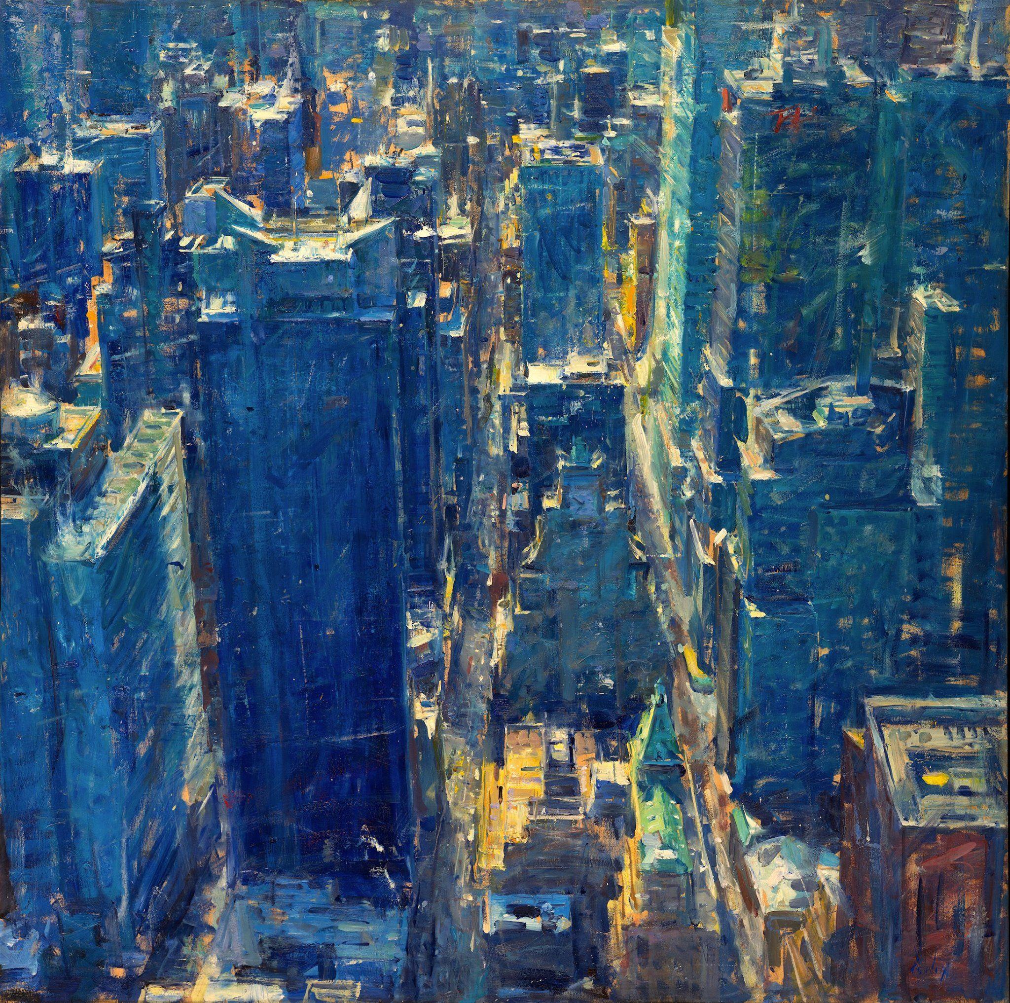 Derek penix painting competition painting urban landscape