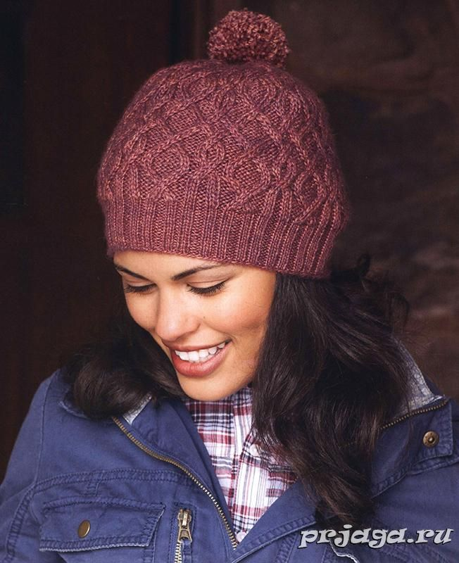 схема вязания женской шапки спицами головные уборы вязаные шапки