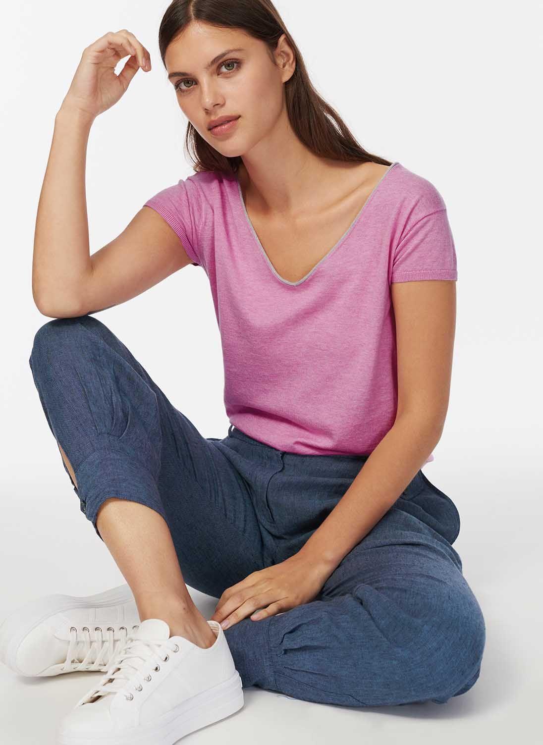 4652f6c25a1 Cotton Knit Metallic Trim T-Shirt en 2019 | Julia Kelly - true style ...
