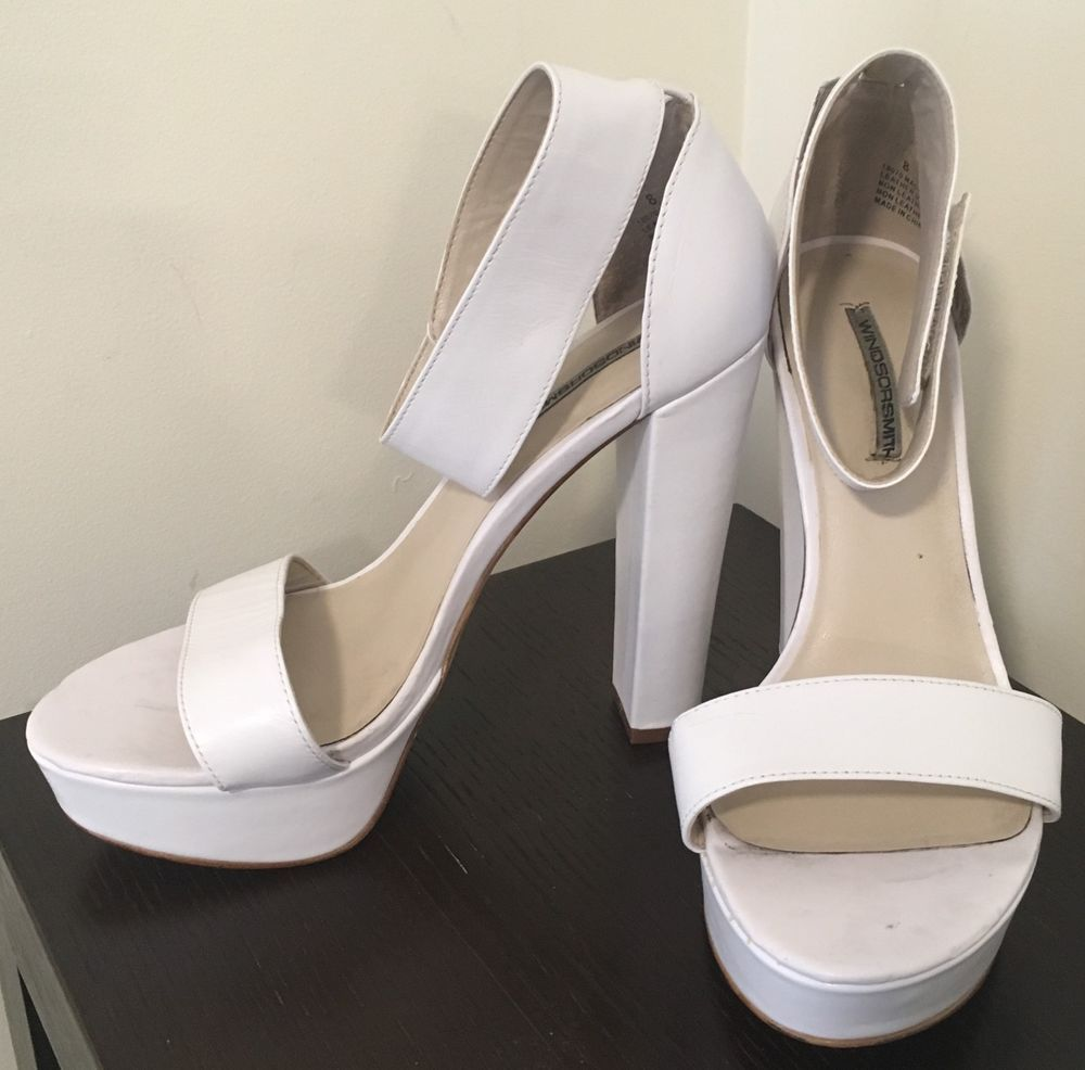 f0216d96db5 Windsor Smith White Malibu High Heel Shoes - SIZE 8 - PRE OWNED - 13cm Heel   fashion  clothing  shoes  accessories  womensshoes  heels  ad (ebay link)