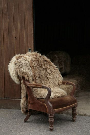 Sheepskin Rug Thrown Over A Chair