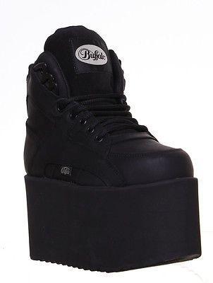 ac858ddc72f Buffalo 1300-10 Chunky High Platform Goth Punk Leather Womens Ankle Boots