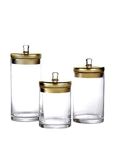 Fifth Avenue 3 Piece Gl Canisters With Gold Lids You Can Find Out More Details At The Link Of Image