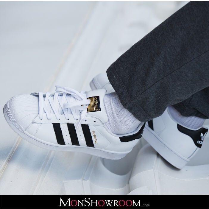 the latest 1bf8c 86609 Baskets cuir Superstar Blanc Adidas Originals prix promo Baskets Femme  Monshowroom 90.00 €