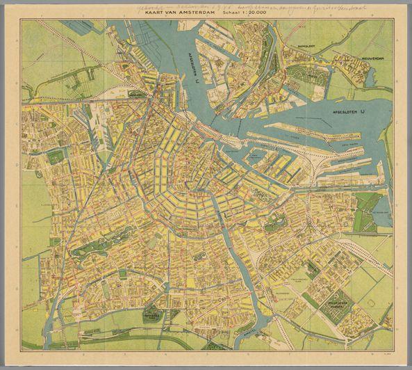 Kaart Van Amsterdam Uit 1945 Met De Gerrit Van Der Veenstraat
