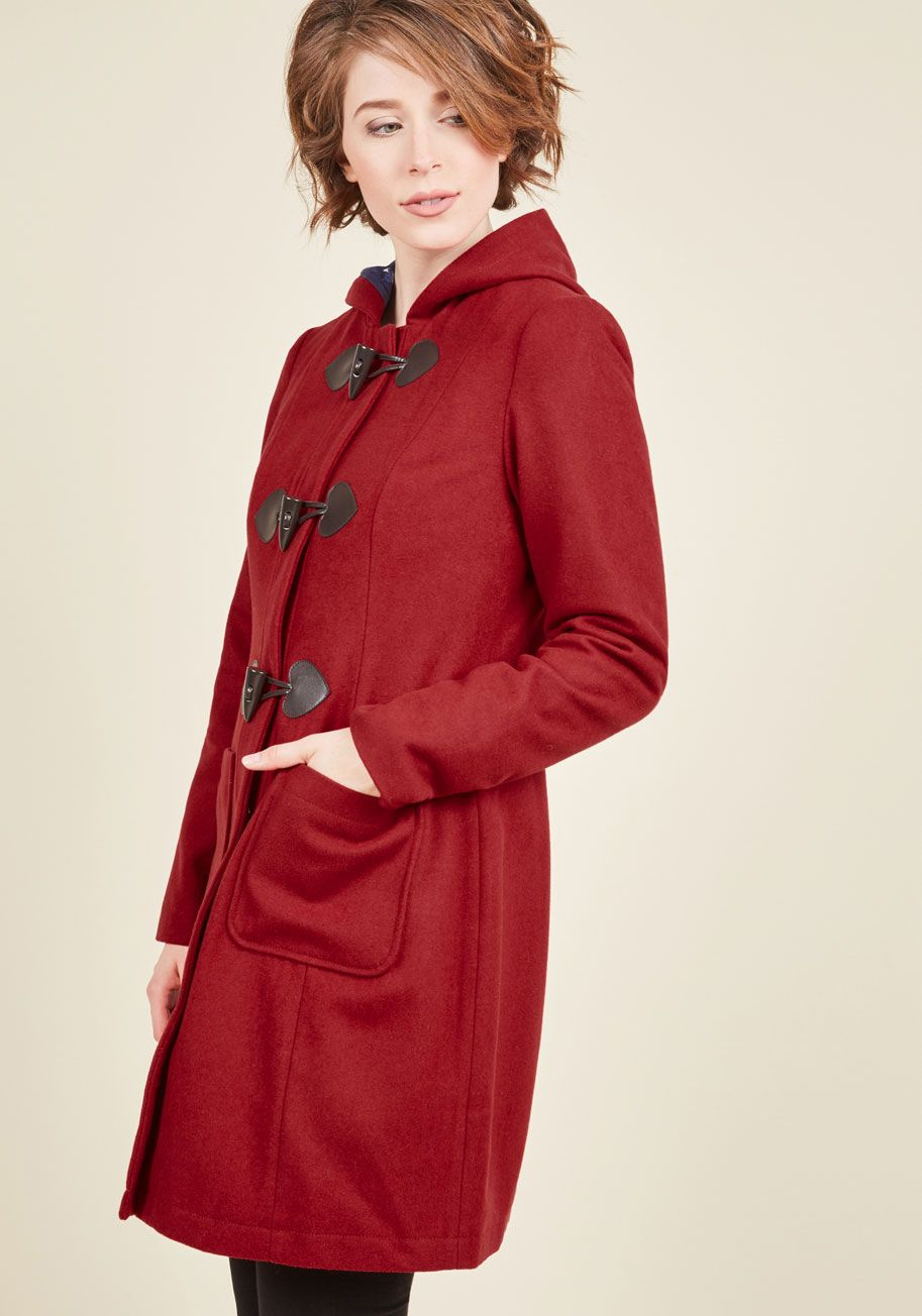 Theater Greetings Coat in Crimson   ModCloth, Clothes and Shoe bag