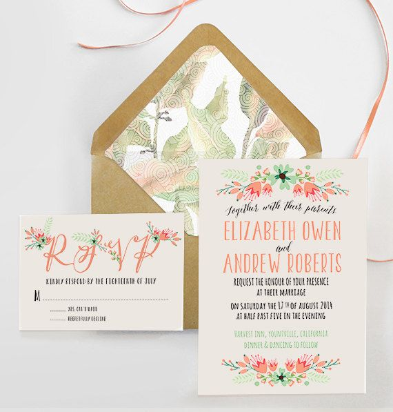 Printable Wedding Invitation Sets: Printable Wedding Invitation Set, Wedding Invite And RSVP