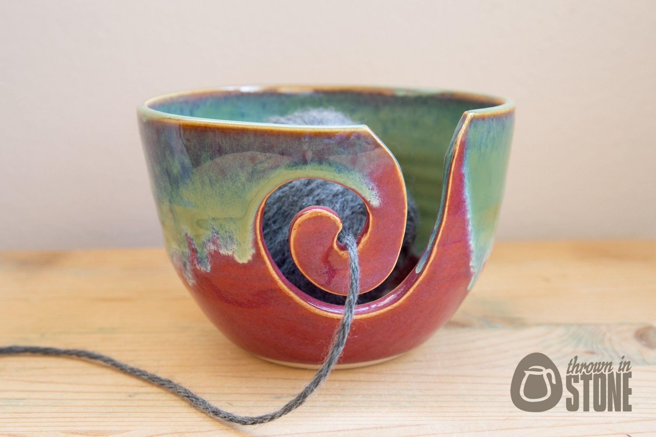 Yarn Bowl - Deep Pink and Green Wool Bowl - Stoneware Knitting and Crochet Bowl #crochetbowl