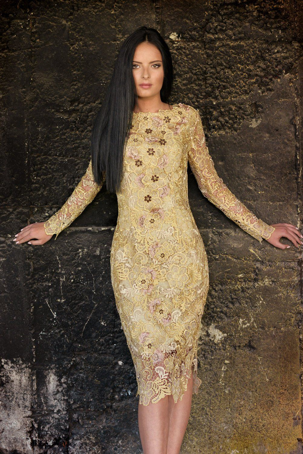 Gold lace bodycon couture womenus dress stylish cocktail midi gown