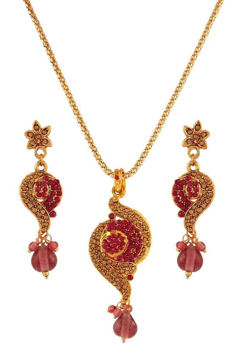 Pink gold plated austrian diamond pendant set pendant set diamond