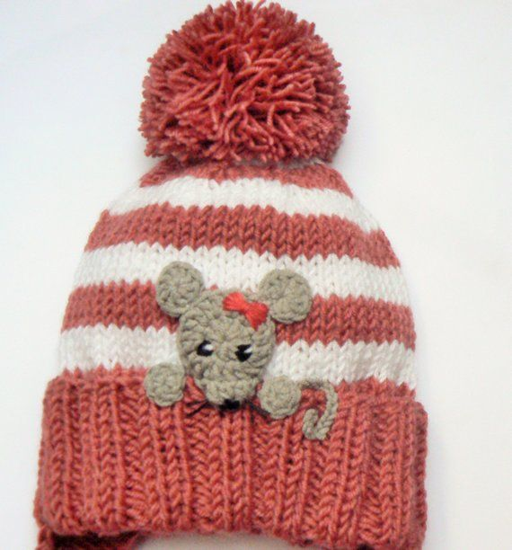 Baby Girls Hat, Mouse Hat, Knit Earflap Hat, Cute Baby Hat, Pom Pom ...