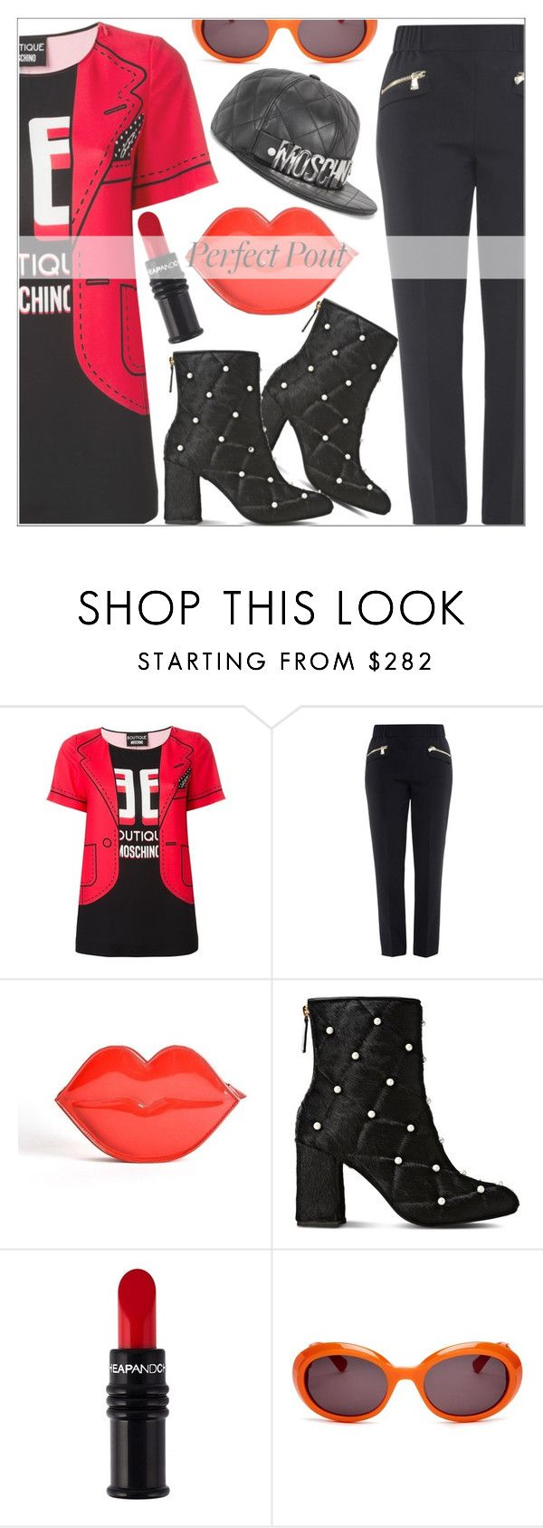 """""""redlip"""" by shoaleh-nia ❤ liked on Polyvore featuring beauty, Boutique Moschino and Moschino"""