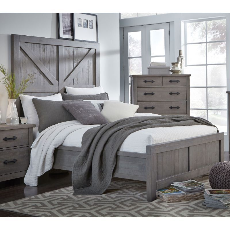 Best Gray Rustic Contemporary King Size Bed Austin King 400 x 300