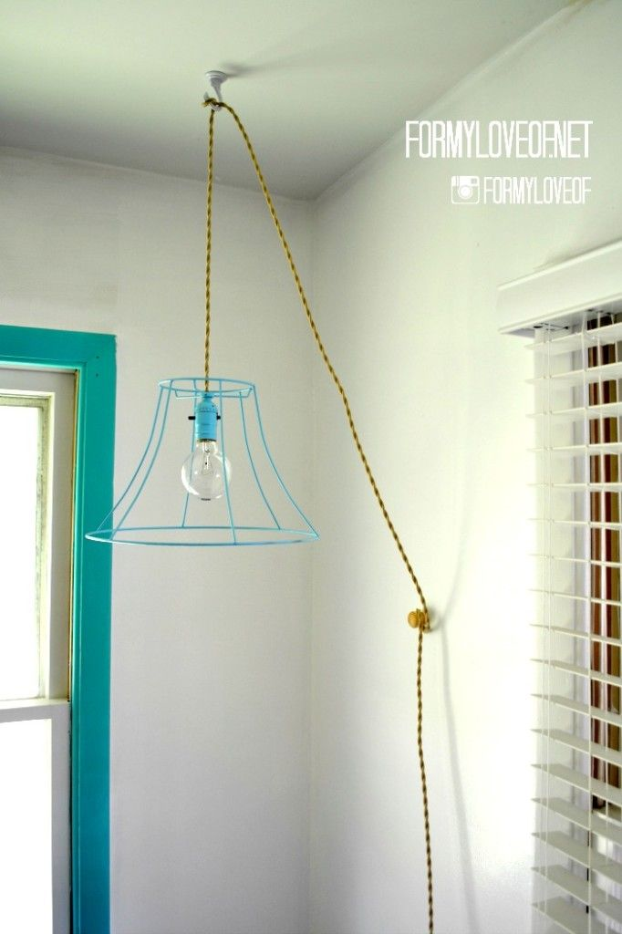 wire lamp shade pendant light with twisted fabric wrapped cord plus a link to site for fabric cord