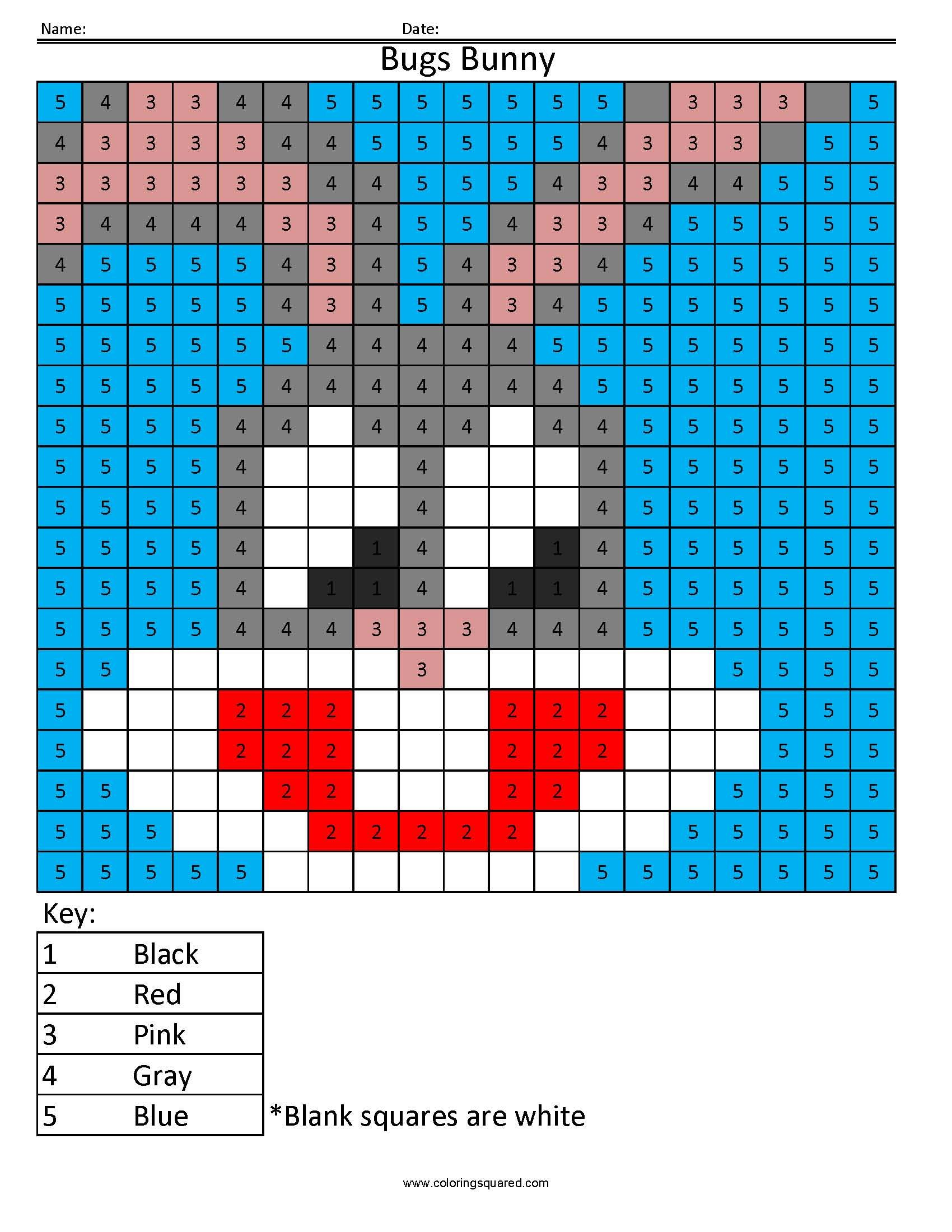 Cartoon- Color by Number | kindercenter | Pinterest | Bugs bunny ...