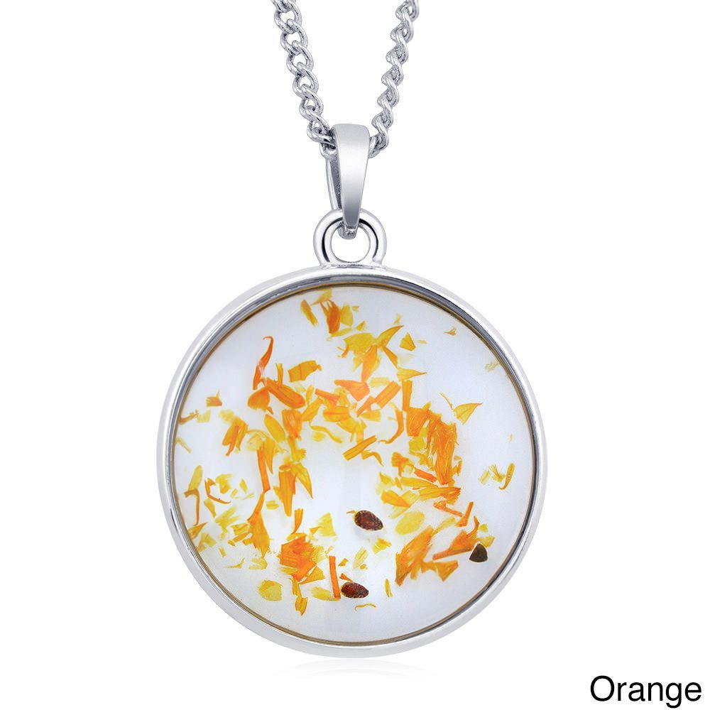 Beverly Hills Sterling Silverplated Round Glass Genuine Dry Dandelion Red Flowers Necklace (Orange), Women's, Size: 18 Inch, White