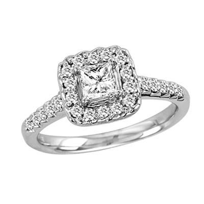 Amazing T.W. Princess Cut Diamond Engagement Ring In 14K White Gold Good Ideas