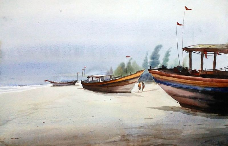 Fishing Boats At Morning Seashore Watercolor Painting