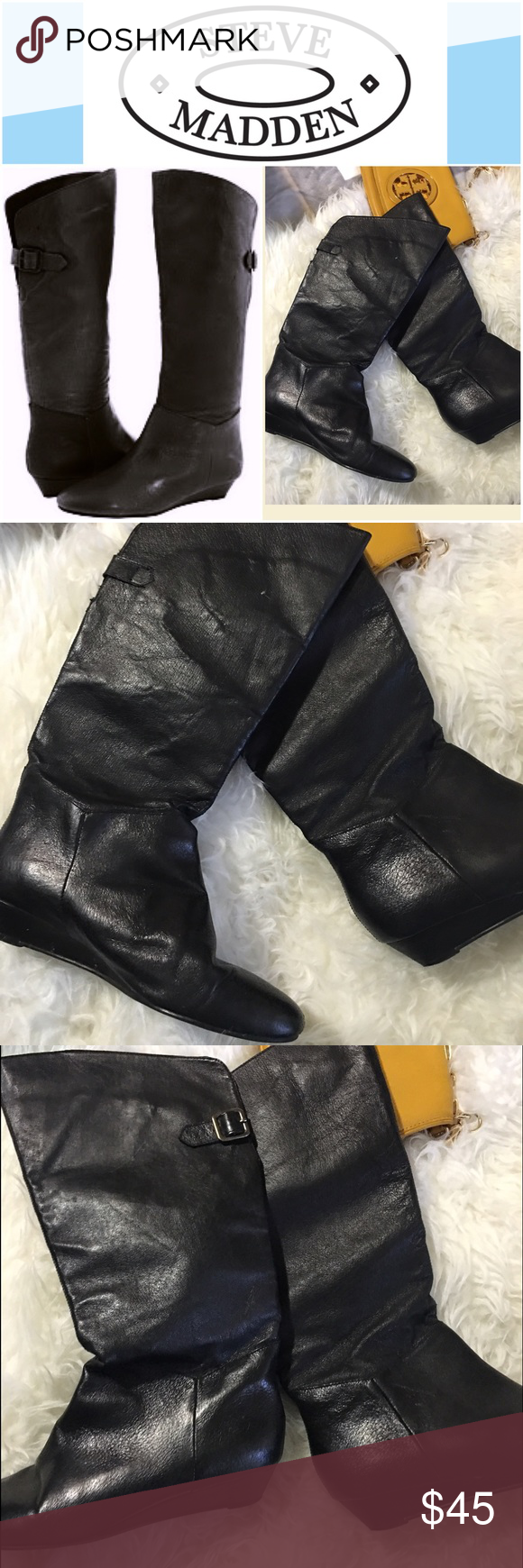 Steve Madden pirate boots INKA BLACK LEAT SIZE 8 true to size Steve Madden Shoes Over the Knee Boots